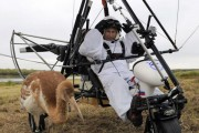 President Vladimir Putin in his microlight preparing to lead the endangered cranes South for the winter