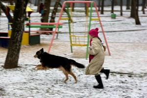 """A girl frolicks in the """"snow"""""""