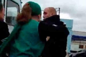 Policeman under attack